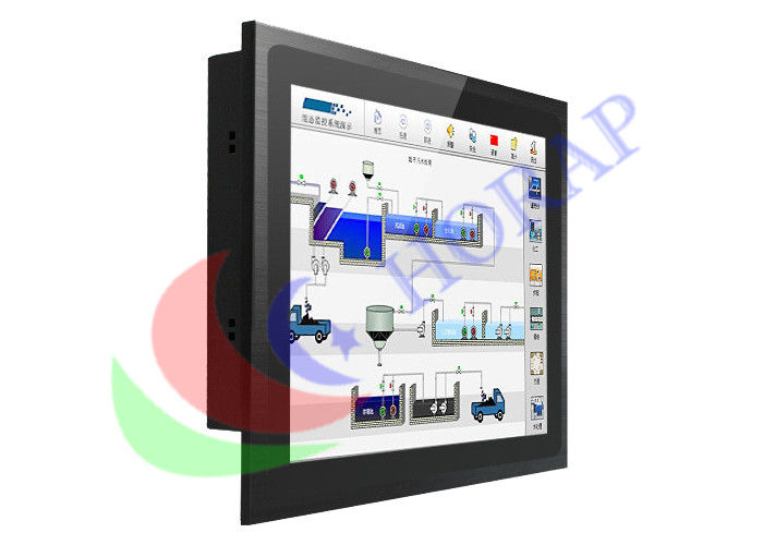 15 Inch Panel Mount Pc Touch Screen , Fanless Embedded Panel Pc With Black Metal Case