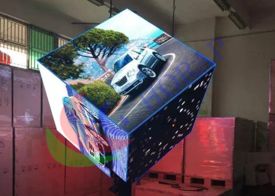 Indoor Digital Visual Creative LED Display Custom Cube Shape Pillar Support
